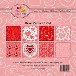 Dixi Craft - Paperpack - Heart Pattern: Red - PP0012
