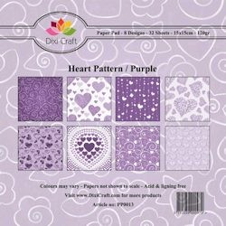 Dixi Craft - Paperpack - Heart Pattern: Purple - PP0013