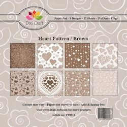 Dixi Craft - Paperpack - Heart Pattern: Brown - PP0014