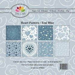 Dixi Craft - Paperpack - Heart Pattern: Teal Blue - PP0015