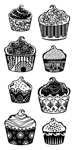 Inkadinkado - Clearstamp - Patterned Cupcakes - 60-30338