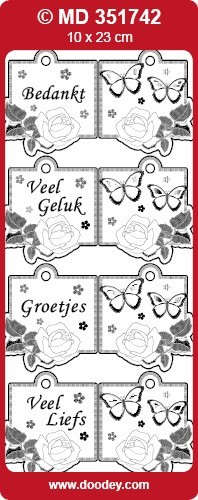 Doodey - Stickervel - Transparant - Mini Kaart: Zilver - MD351742