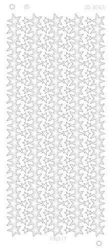 Card Deco - Stickervel - Platinum - Star lines large: Zilver