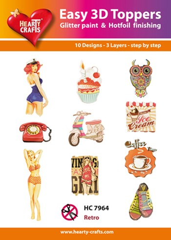 Hearty Crafts - Easy 3D Toppers - Retro - HC7964