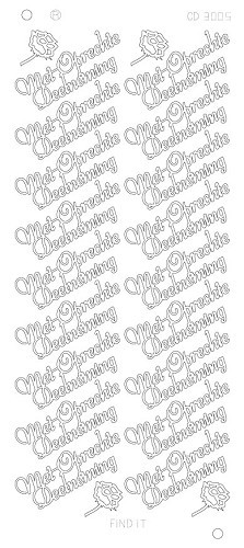Card Deco - Stickervel - Platinum - Met oprechte deelneming: Zilver - CD3005