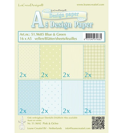 Leane Creatief - Paperpack - Design Paper - Blue & Green - 51.9685