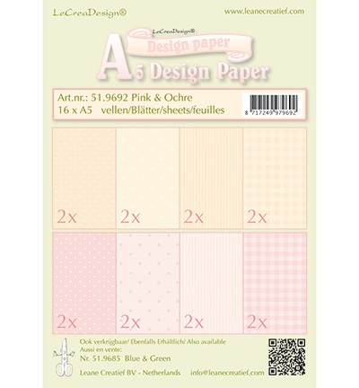 Leane Creatief - Paperpack - Design Paper - Pink & Ochre - 51.9692