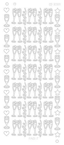 Card Deco - Stickervel - Platinum - Champagne glazen: Zilver - CD3089