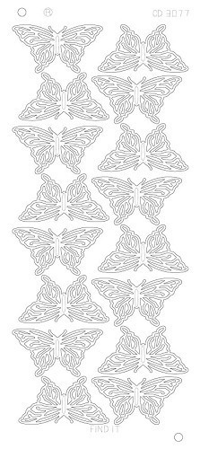 Card Deco - Stickervel - Platinum - Butterflies Large: Goud