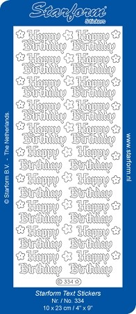 Starform - Stickervel - Holografisch -  Tekst - Happy Birthday: Goud - 334