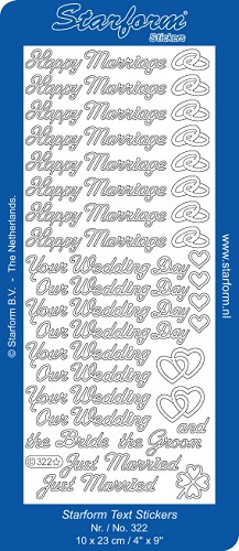 Starform - Stickervel - Teksten - Happy Marriage: Zilver - 322