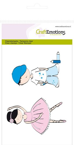 CraftEmotions - Clearstamp - Boy and girl - 130501/1104