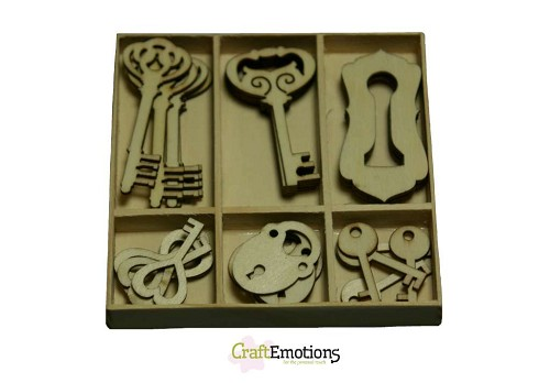 CraftEmotions - Wooden Ornaments - Key and lock - 811500/0211