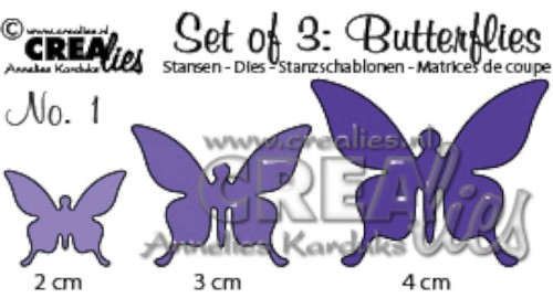 Crealies - Die - Set of 3 - Butterflies - No. 1