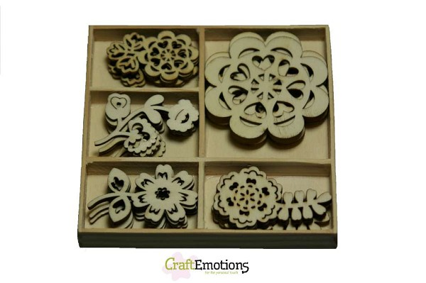 CraftEmotions - Wooden Ornaments - Folklore Flowers - 811500/0103