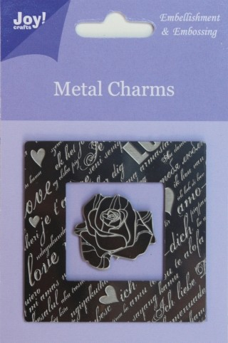 Joy! crafts - Metal Charms - Vierkant + roos - 6350/0100