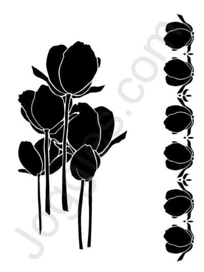 Joggles - Maskingstencil - Tulips and Border - 20-33708