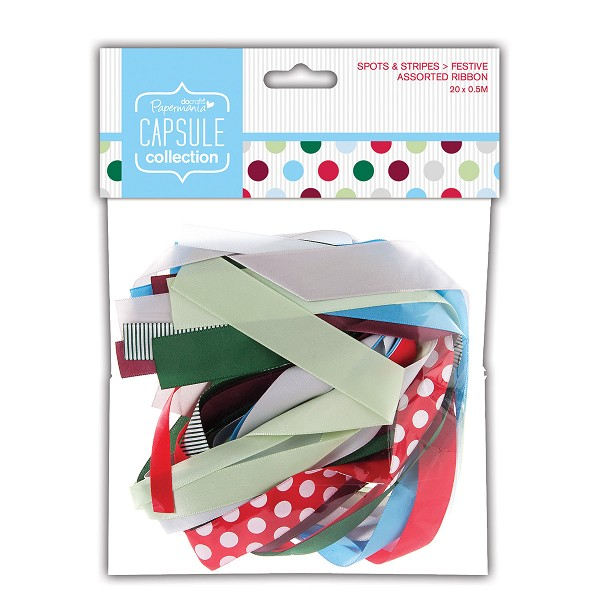 Papermania - Assorted Ribbons - Capsule Collection - Spots & Stripes Festive - PMA367502