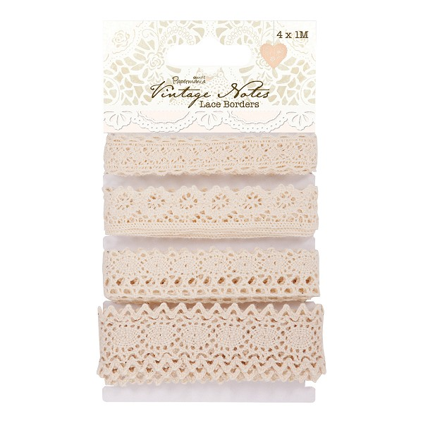 Papermania - Ribbon - Vintage Notes - Lace Border - PMA367401