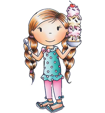Paper Nested Dolls - Cling Stamp - Ice Cream Avery - 2354