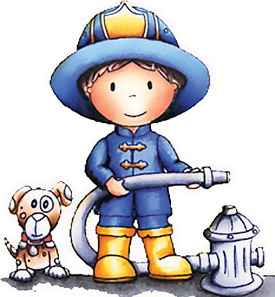Paper Nested Dolls - Cling Stamp - Firefighter Owen - 1037
