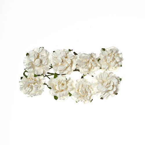 ScrapBerry`s - Paper Flowers - Curly Rose: White - SCB280601