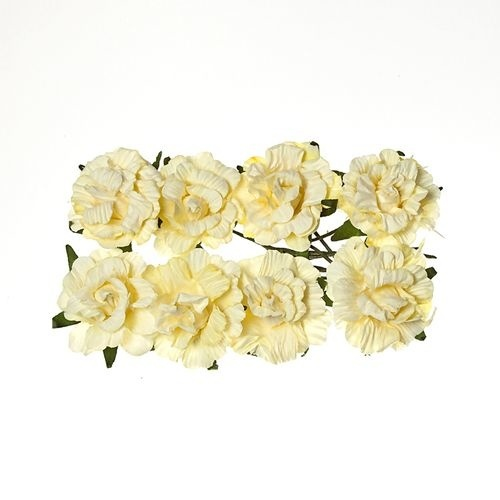 ScrapBerry`s - Paper Flowers - Curly Rose: Cream White - SCB280602