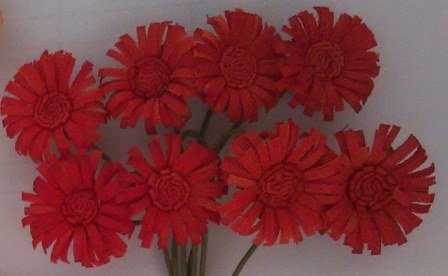 ScrapBerry`s - Paper Flowers - Daisies: Red - SCB281405