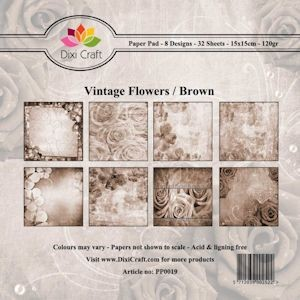 Dixi Craft - Paperpack - Vintage Flowers: Brown - PP0019
