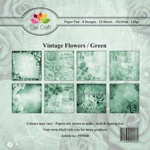 Dixi Craft - Paperpack - Vintage Flowers: Green - PP0020