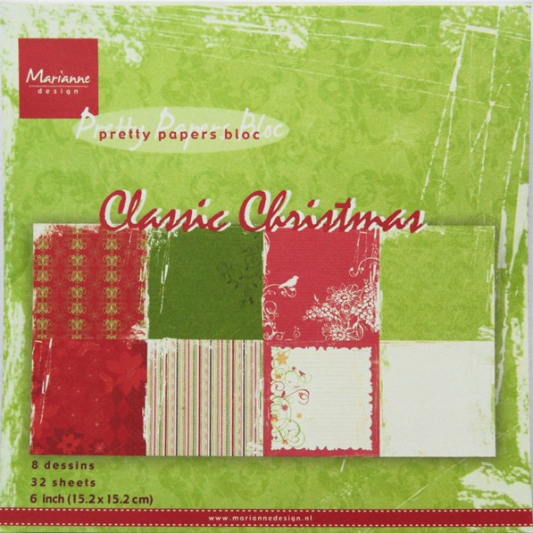 Marianne Design - Paperpack - Pretty Papers - Classic Christmas - PK9113