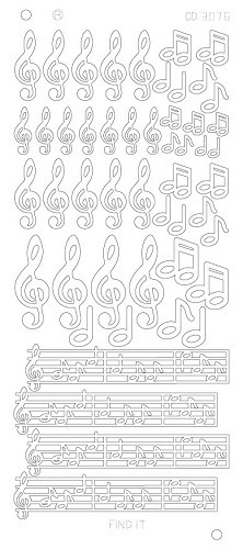 Card Deco - Stickervel - Platinum - Music Notes: Zilver