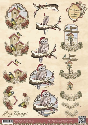 Card Deco - Amy Design - 3D-knipvel A4 - Vintage Christmas Collection - Kerstvogels