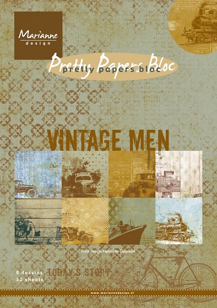 Marianne Design - Paperpack - Pretty Papers - Vintage Men - PK9116