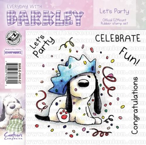 Crafter`s Companion - Barkley - Cling Stamp - Let`s Party - BAR-E-PAR-EZ