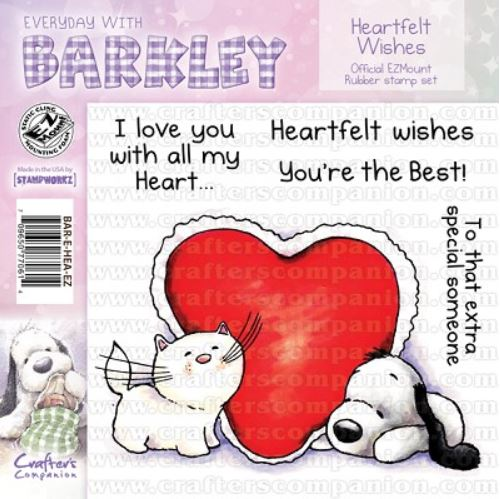 Crafter`s Companion - Barkley - Cling Stamp - Heartfelt Wishes - BAR-E-HEA-EZ