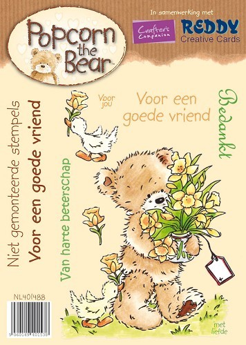 Crafter`s Companion - Popcorn the Bear - Cling Stamp - Voor een goede vriend - NL401488