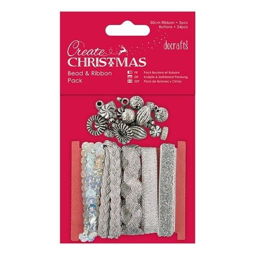 Docrafts / Papermania - Ribbon - Bead & Ribbon Pack Silver