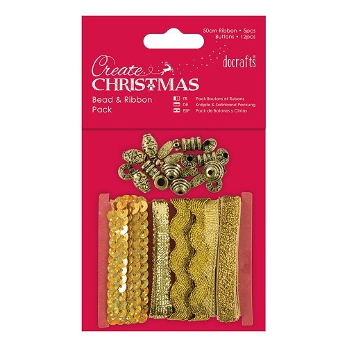 Docrafts / Papermania - Ribbon - Bead & Ribbon Pack Gold