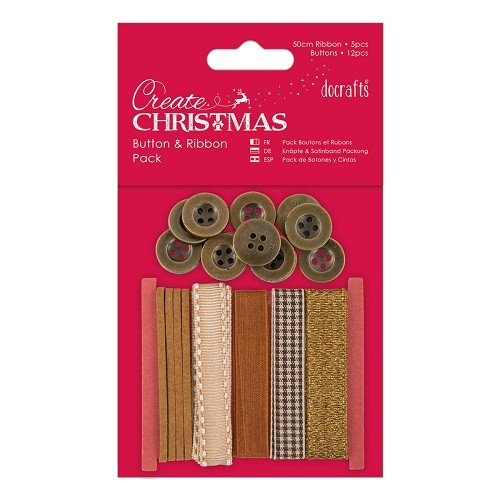 Docrafts / Papermania - Ribbon - Button & Ribbon Pack Bronze