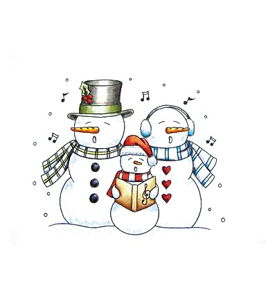Paper Nested Dolls - Cling Stamp - Caroling Snowmen - 70029