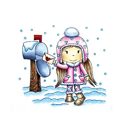 Paper Nested Dolls - Cling Stamp - Winter Mail Avery - 70032
