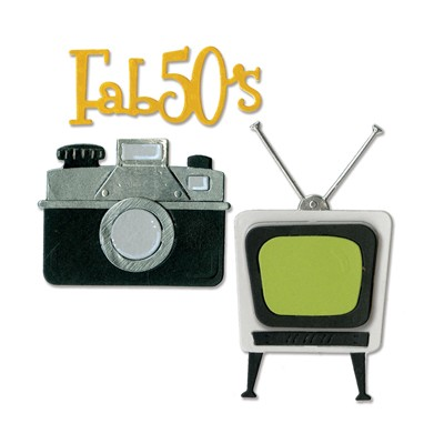 Sizzix - Die - Thinlits - Retro TV, Camera & Fab 50s