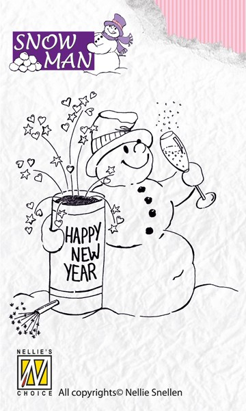 Nellie Snellen - Clearstamp - Snowmen - Happy New Year - SNM001