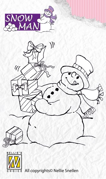 Nellie Snellen - Clearstamp - Snowmen - Lot`s of presents - SNM002