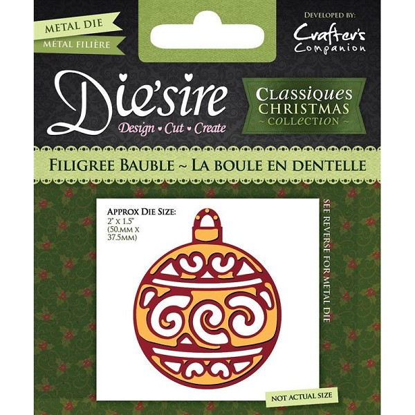 Die`sire - Die - Classiques - Christmas Collection - Filigree Bauble - DS-CX-BAUFI
