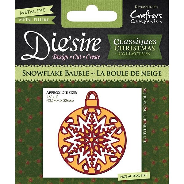 Die`sire - Die - Classiques - Christmas Collection - Snowflake Bauble - DS-CX-BAUSN