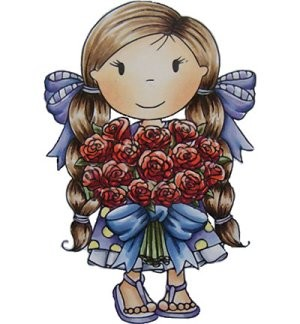 Paper Nested Dolls - Cling Stamp - Flower Bouquet Avery - 70054