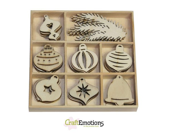CraftEmotions - Wooden Ornaments - Purple Holiday - Christmas Balls - 811500/0151