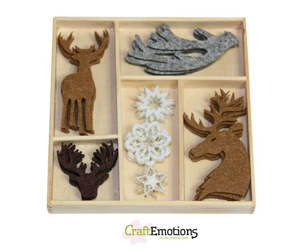 CraftEmotions - Vilt ornaments - Reindeer and Antlers - 800400/0141